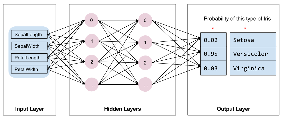 A diagram of the network architecture: Inputs, 2 hidden layers, and outputs
