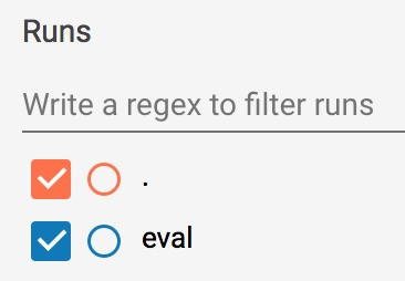 Check-boxes allowing the user to select which runs are shown.