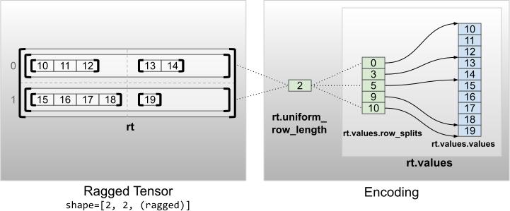 Codifica di tensori irregolari con dimensioni non interne uniformi