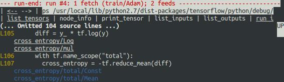 tfdbg run-end 界面:带注解的 Python 源文件