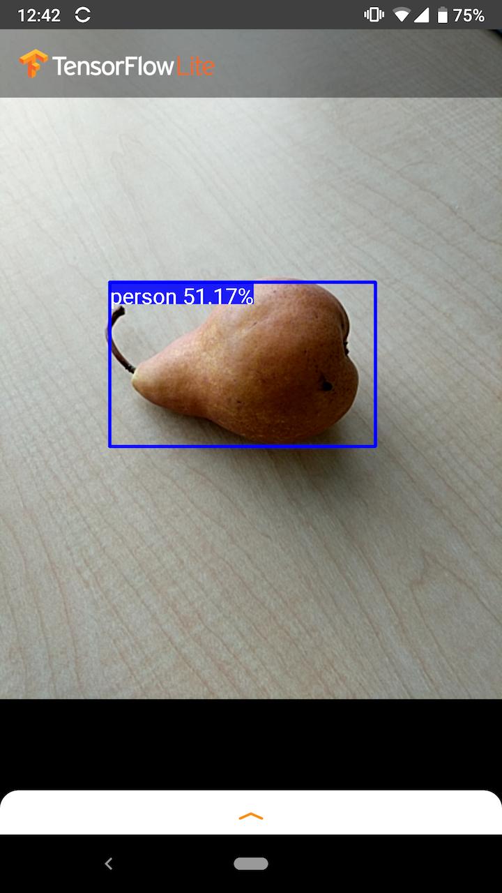 Captura de tela do exemplo Android mostrando um falso positivo