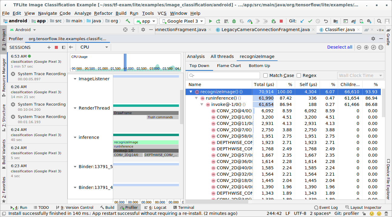 Android Studio trace