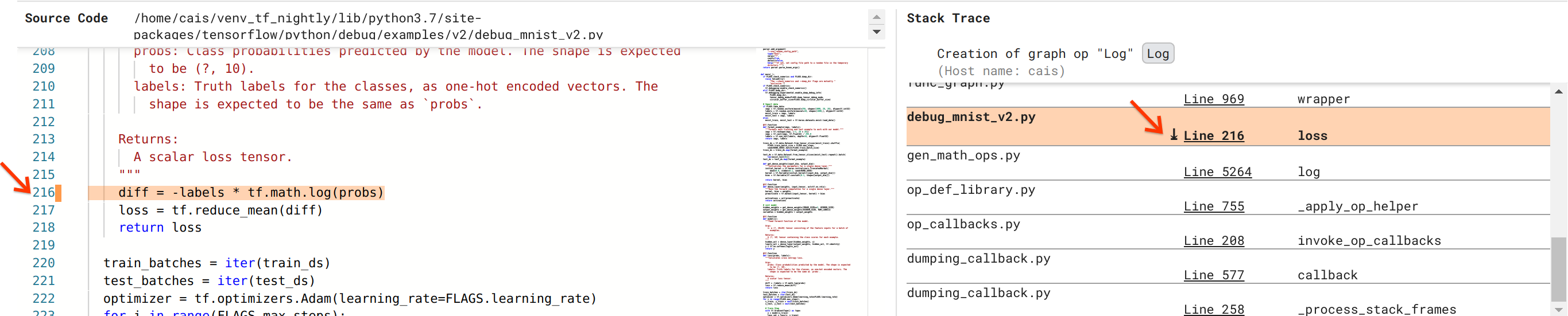 Debugger V2: Source code and stack trace