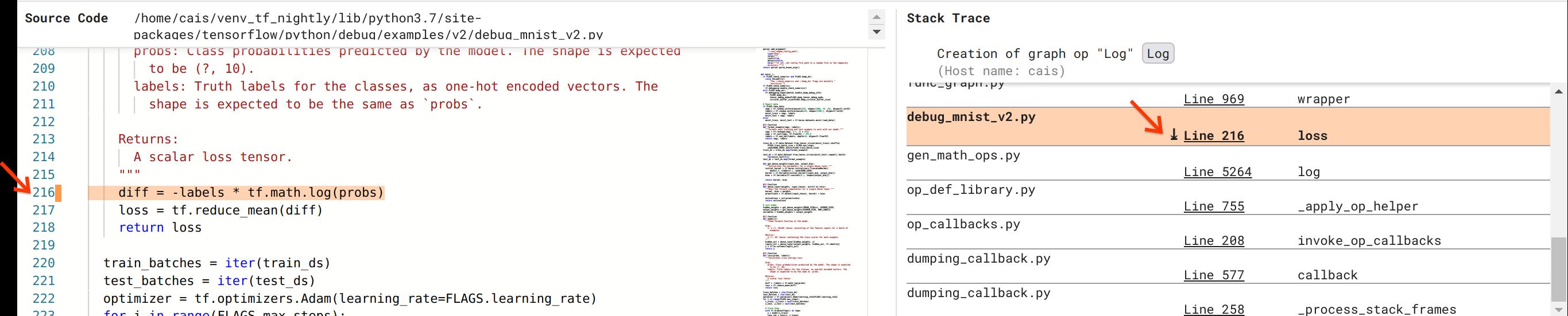 Debugger V2: codice sorgente e traccia dello stack